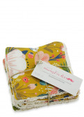 "Lingettes lavables 100% coton bio - ""Flower Power"" moutarde"